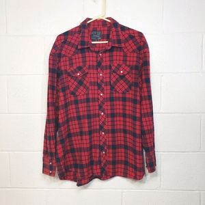 Cactus Red/Blue Workwear Flannel Button Down